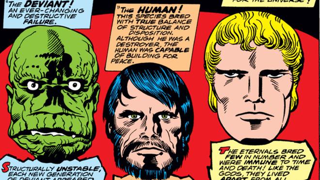 Lần lượt từ trái qua phải: Deviant, loài người, và Eternal.
